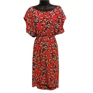 Vintage Dresses - Vintage Orangey Red Abstract Print Silk Dress